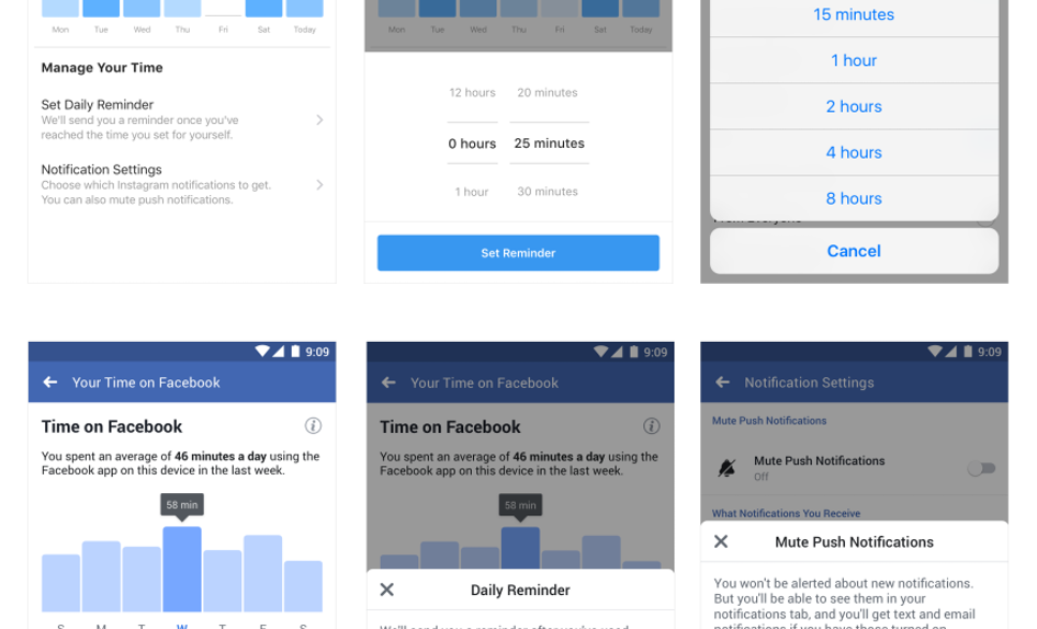 Time Management Tools by Facebook and Instagram